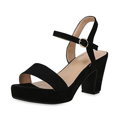 SCARPE VITA Damen Pumps Plateau Sandaletten Party High Heels Wildleder-Optik Schuhe Elegante Partyschuhe Absatzschuhe 158292 Schwarz Velours 37
