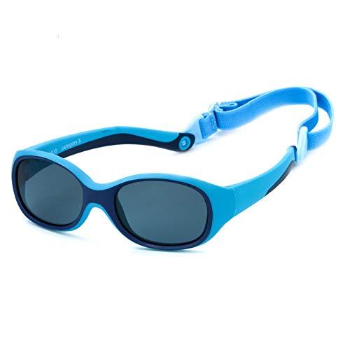 Kiddus Sonnenbrille ULTRA FLEXIBLE für Kinder Kleinkind Mädchen Jungen. Ab 2 Jahren. Aus Gummi. Unzerbrechlich. Einstellbares und abnehmbares Band. Sicherer UV400 Sonnenfilterschutz.