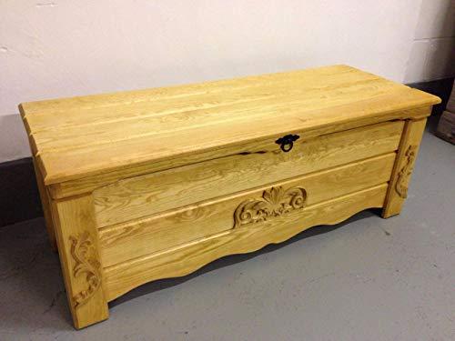 DECOCRAFT Coffre en bois de chêne rustique pour couverture, table basse, coffre vintage ottoman (BT5)