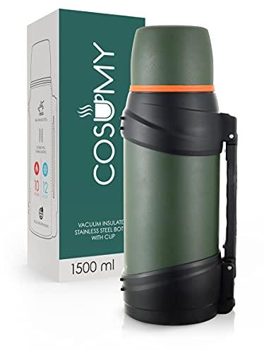 Thermosflasche 1,5l mit Becher für Unterwegs - Auslaufsicher - Robuster Griff & Tragegurt - Für Kaffee & Tee