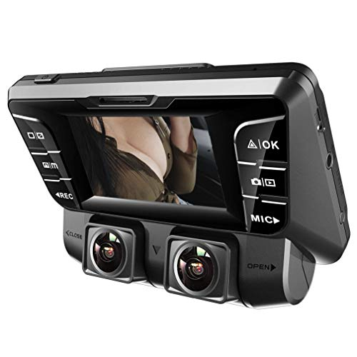 YOUANDMI Dashcam,4K UHD WiFi Dobles Camaras 340° Gran Angular Cámara con Sensor De Sony Y G,WDR Vision Nocturna,12 Millones Píxeles,Grabación En Bucle,Detección De Movimiento Grabadora para Coche