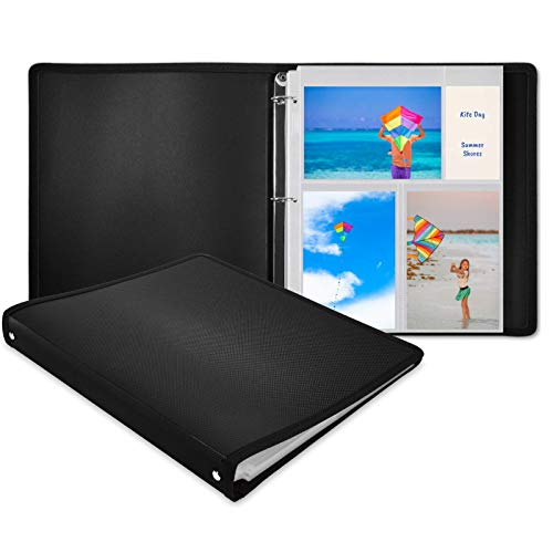 Dunwell Photo Album 3-Ring Binder - (Black, 1 Pack), Holds 150 4x6 Pictures with Initial 25 Photo Protector Sheets, 4x6 Photos, 4 x 6 Refillable Photo Insert Sheets, Acid Free, Crystal Clear