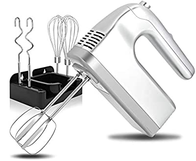 I00000 Hand Mixer Electric, 5-Speed Kitchen Handheld Mixers with Turbo, Easy Eject Button, 400W Silver Hand Mixer with 6 Stainless Steel Attachments(Beaters, Whisk and Dough Hooks) from I00000