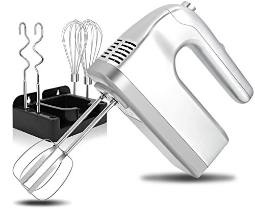 I00000 Hand Mixer Electric, 5-Speed Kitchen Handheld Mixers with Turbo, Easy Eject Button, 400W Silver Hand Mixer with 6 Stainless Steel Attachments(Beaters, Whisk and Dough Hooks)