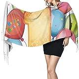 Cálido Bufandas de Invierno Primera fiesta infantil de tema vintage con globos, estrellas y puntos Imagen colorida Pashmina Chales mujer Bufandas