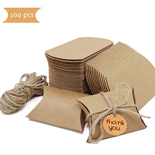 Cajas para Regalo, 100 Piezas Cajas de Papel Kraft Vintage con tarjeta de agradecimiento Bolsas de Regalo Cajas Vintage Kraft envolver cajas de dulces de regalo para Boda Fiesta