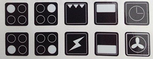 Aufkleber für Herd, Ofen, Herd, Herd, Herd, Symbole, Ersatz-Etiketten