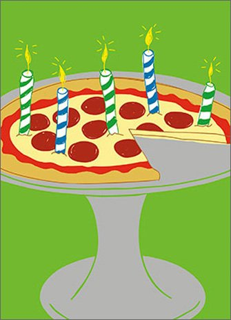 Pizza Candles APress Birthday Card