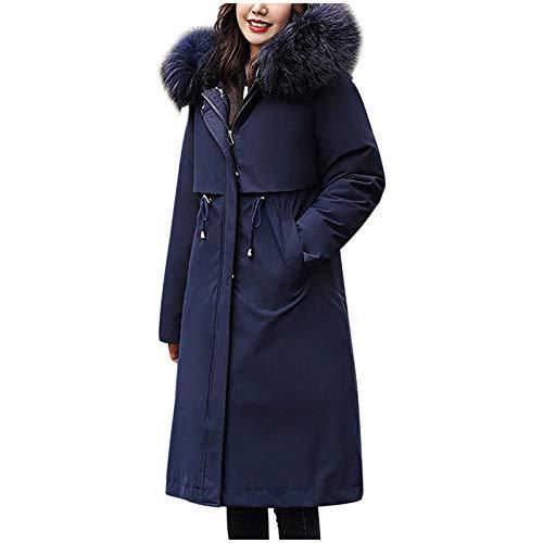 ReooLy Abrigo de Invierno Largo y Espeso y de Terciopelo para Mantener abrigado y Casual con Sombrero(Azul Oscuro,XXL)