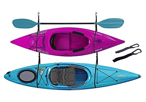 ZUJARA Double Kayak Storage Straps System Comes with 2 Carabiner Paddle Clips