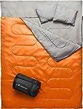MalloMe Double Camping Sleeping Bag - 3 Season Warm & Cool Weather -...