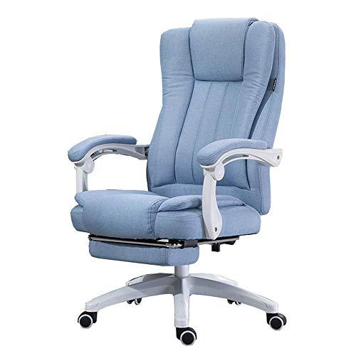 Barhocker Xiuyun Computer Chair Soft-Built-in Lendenkissen Reclinable Design Doppel Ausziehbare Fußstütze Technische Behandlung Ergonomische High-End-Leinen Boss Stuhl Kunststoff-Faser (Color : Blue)