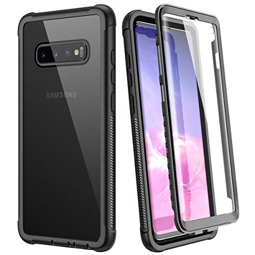 WE LOVE CASE Hülle für Samsung Galaxy S10, Stoßfest Handyhülle 360 Grad Rugged Schutzhülle mit Eingebautem Displayschutz Transparent Cover für Samsung S10, Schwarz