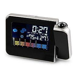 Black Square Projection Digital Weather LCD Snooze Alarm Clock Projector Color Display LED Backlight Digital Alarm Clock