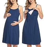 HOTLOOX Geburtskleid Baumwolle Nachthemd Entbindung Schlafkleid Damen Sommer Umstandskleid Elegante Nachthemden Blau Medium