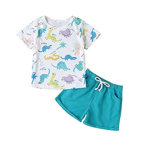 Toddler Kids Baby Girl Boy Clothes Set Summer Cartoon Dinosaur Print Short-Sleeved T-Shirt + Shorts Two-Piece Suit Mint Green