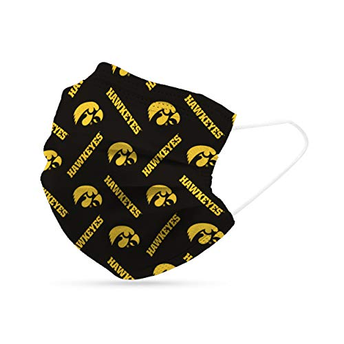 NCAA Logo Brands Iowa Hawkeyes Disposable Face Covering - 6 Pack, Team Color