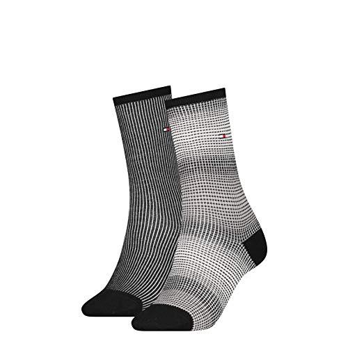 Tommy Hilfiger Womens Gradient Stripe Women's (2 Pack) Socks, Black, 39/42