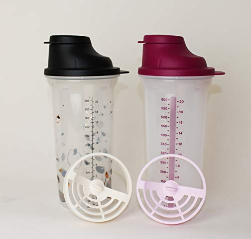 TUPPERWARE Shake-It Shaker 600ml Beere + 600ml Schwarz + Mini Trichter Lila