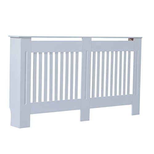 HOMCOM Slatted Radiator Cover Painted Cabinet MDF Lined Grill in White (152L x 19W x 81H cm)