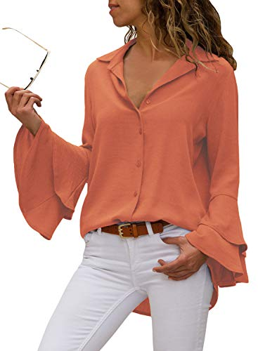 Aleumdr Mujer Blusa Elegante Camisa Casual Blusa Vintage para Oficina Fiesta Naranja Size S