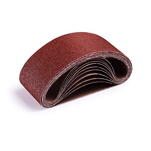 TACKLIFE 10 Stück Schleifbänder Schleifband 75 x 457 mm Körnung je 40/60/80/100/120 Bandschleifer Nahtlose Verbindung, Aluminium oxid für Black & Decker Holz und Metallisch Sand /ASB01A