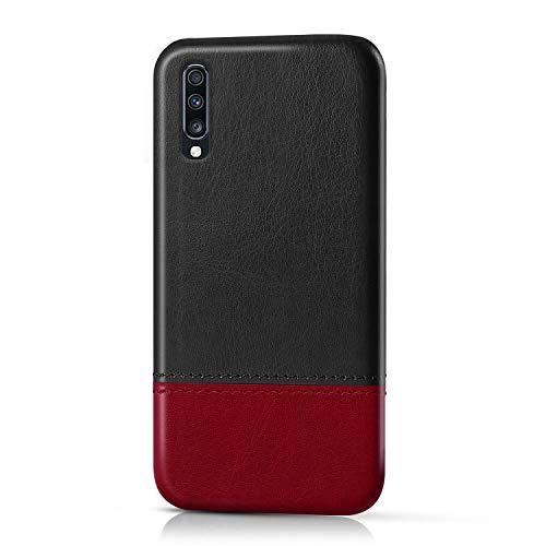 Suhctup Compatible pour Samsung Galaxy A90 5G Coque Cuir Premium Ultra Mince Multicolore Étui Style de Design Facile Mode Housse Anti-Choc Antidérapant Protection Cover(Noir Rouge)