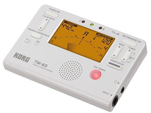 KORG TM-60 Combo aus Stimmgerät und Metronom, mit Kontakt-Mikrofon, Handheld Tuner, weiß, für Holz- und Blechblasinstrumente, TM60CWH