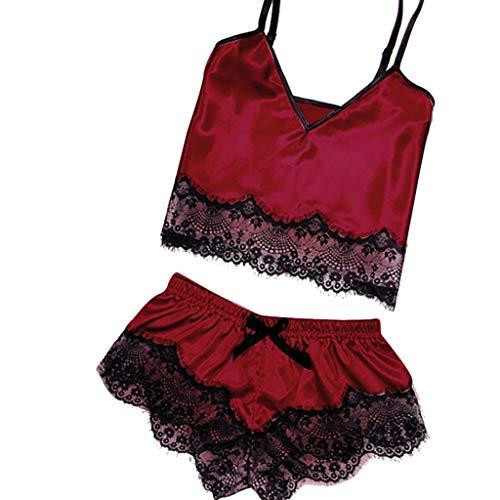 LoveLeiter Damen Schlafanzug Sexy Spitzen Satin Nachtwäsche Kurz Sommer Kurz Pyjama Set Nachthemd Negligee Set Sexy Dessous Negligee Babydoll Lingerie mit Shorts