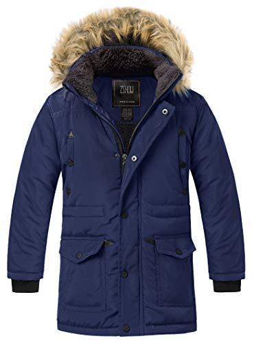 ZSHOW Cappotto Foderato Imbottito Giaccone Antivento Jacket Outdoor Casual Giacca Pesante Idrorepellente Bambino Blu Chiaro 140-146