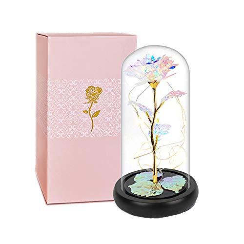 Rosa artificial eterna bajo campana La Bella y la Bestia Rosa cúpula de cristal rosa encantada con luces LED para bodas, cumpleaños, San Valentín, Navidad, regalo del día de la madre