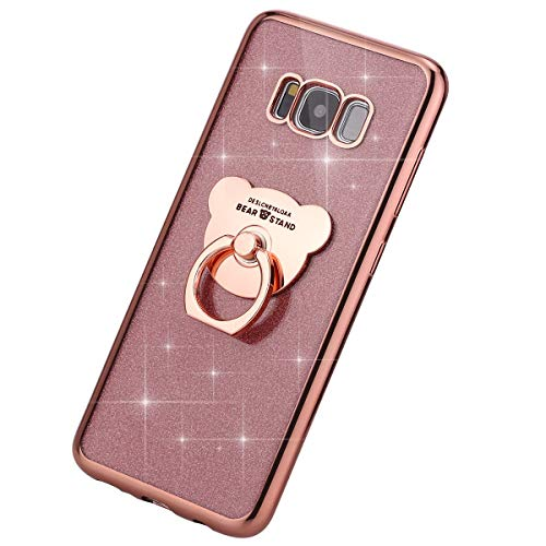 MoreChioce Compatible avec Coque Galaxy S8 Plus Étui Silicone, Fantaisie Glitter Strass Bling Paillettes d'or Rose Coque de Protection Souple Housse avec Anneau Compatible avec Galaxy S8 Plus