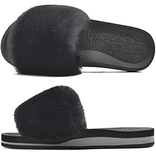 ONCAI Chaussons Femme Confort Peluche Claquette Bout Ouvert Pantoufles avec Support de Voûte Plantaire Tapis de Yoga Fourré Sandales Noir Taille 39