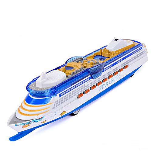 CORPER TOYS Ship Toy Die Cast Metal Cruise Ship Model Ocean Liner Boat Pull Back Toy for Kids with Flashing LED Lights and Sounds