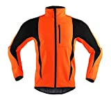 Camisetas de ciclismo de invierno ropa de ciclismo de cuello alto chaquetas de forro polar térmico bicicleta MTB Road Bike ropa impermeable jersey largo hombres (tamaño: 3XL; color: naranja)