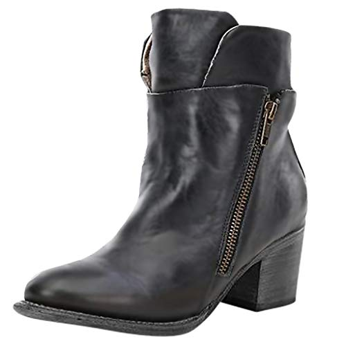 Best Deals! Hunauoo Releases Women Flats Ankle Boots Stylish Round Toe Thick Heel Zipper Comfortable...