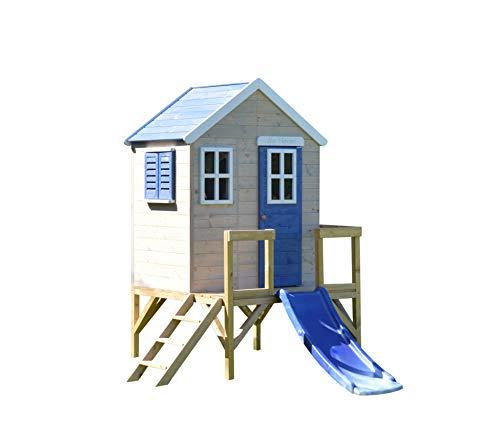Wendi Toys M26B Spielhaus Kinder | Rot Holz Kinderspielhaus auf 60cm Veranda mit Rutsche | Groß Kinderhaus 260 x 170 x 212 cm | Spielturm mit Rutsche draussen | Outdoor Spielzeug 3-7 Jahre