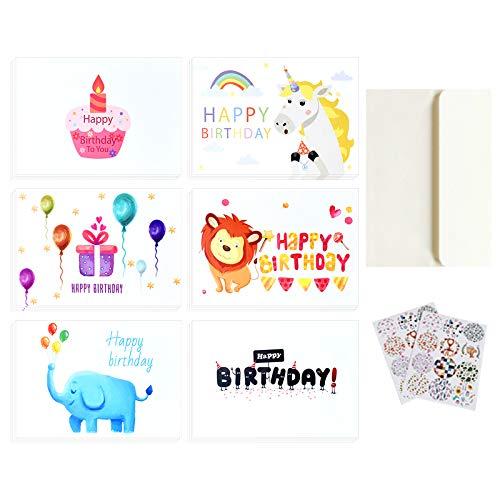 Geburtstagskarten, Nette Cartoons 24er Geburtstag Glückwunschkarte mit Umschlägen und Aufklebern, Klappkarten Blanko Grußkarten Multipack für Mädchen Jungen Kinder Geburtstagsgeschenk (10x15cm)