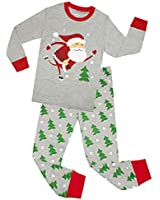 Kids Pajamas Hop Boys Santa Pajamas Cotton Clothes Set Childrens Christmas Clothes Set (Grey,4T)