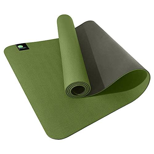 kulae Esterilla de yoga ECOmat de 3 mm, ecológica, reversible, ligera, antideslizante, 183 x 60 cm (musgo/nogal)