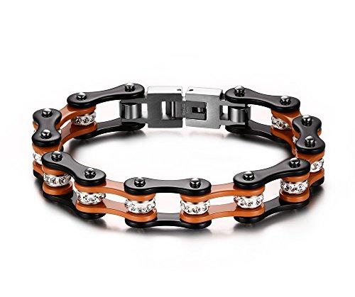 Joielavie Armband für Fahrrad, Motorrad, Strass, Simulierter Diamant, Edelstahl, cool, Punk, Biker, Gliederarmband, Handkette für Herren, Orange
