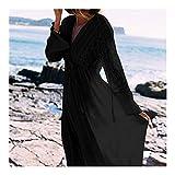 Bigbarry Elegantes Blanco Rayón Vestido de la Playa de Long Beach del Traje de baño túnicas Ropa de Playa Robe Ropa de Playa (Color : Black, Size : One Size)