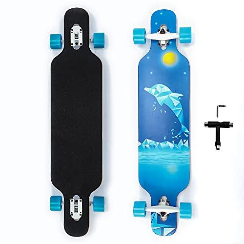 42 Zoll Longboard Skateboard 9-lagig Natur Ahorn Komplett Skateboard Cruiser für Cruising, Carving, Free-Style und Downhill mit T-Tool