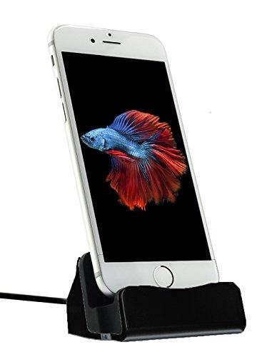 MyGadget Dockingstation Ladestation für das Apple iPhone - Dock (mit 1m Kabel) Stand Station für Modelle X 8 7 6s Plus 5s SE, iPod nano 7, 5G in Schwarz