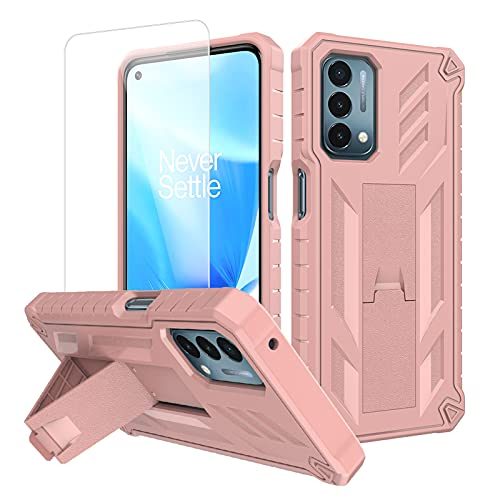 """Oneplus Nord N200 5G Case with Screen Protector Stand Holder Hybrid Heavy Duty Shockproof Hard PC Soft TPU Shockproof Kickstand for Sport Men/Girls Slim Protective Cover Oneplus N200 5G Case 6.49"""""""