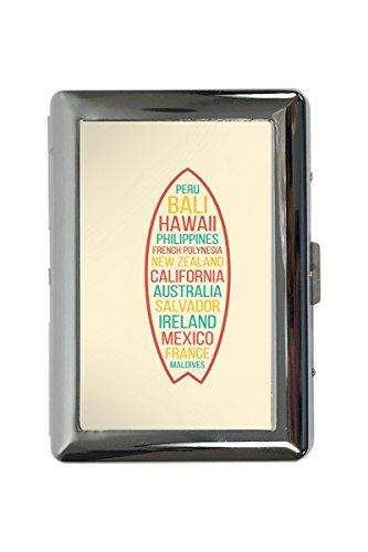 portasigarette in Metallo Vacanza Agenzia Viaggi surf del mondo Stampato
