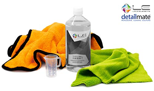 Detailmate Set Liquid Elements: Orange Baby XL microvezeldoek (40x60cm), Biliteral microvezeldoek speciaal voor auto-interieurreiniging, microvezelwasmiddel 1L, maatbeker 50ml
