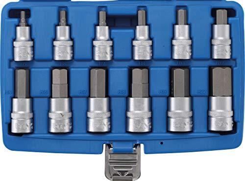 BGS 5052 | Bit-Einsatz-Satz | 12-tlg | 12,5 mm (1/2 Zoll) | Innensechskant 5 - 22 mm | CV-Stahl