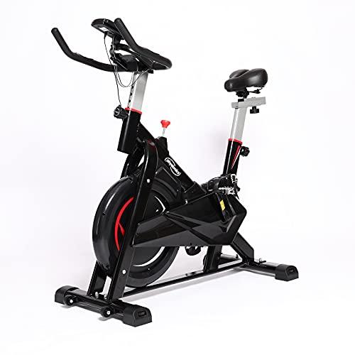 Physionics Spin Bike - Volano d'Inerzia 10 kg, Sella e Manubrio Regolabili, Display con Cardiofrequenzimetro - Bici da Spinning, Bicicletta da Casa, Cyclette, Fitness, Cardio (Modello 2)