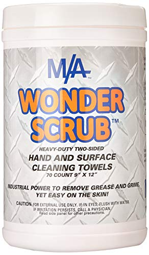 WONDER SCRUB Hand & Surface Cleaning Towels 70 ct tub. Industrial Strength, Heavy duty for grease, grime, oil.'The BEST cleaning wipes on the market!' Patented Formula. Accept NO Substitutes!